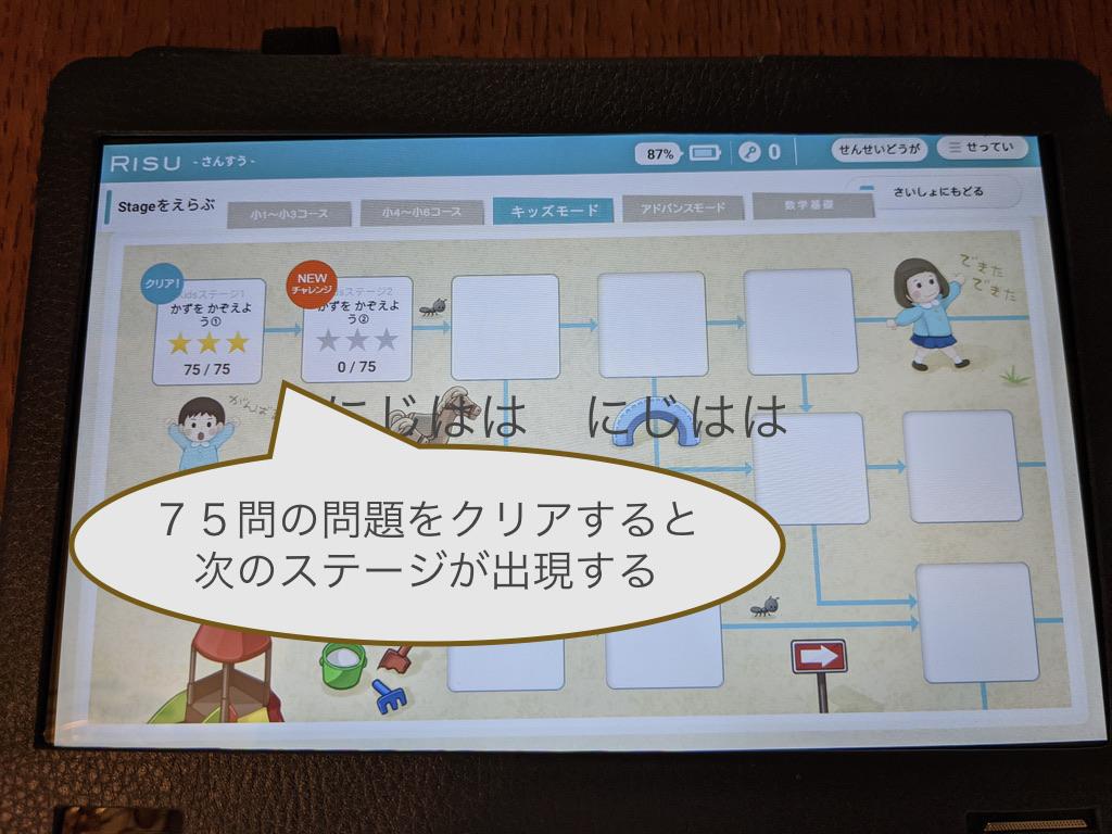 幼児版RISU算数の次のステージ画面